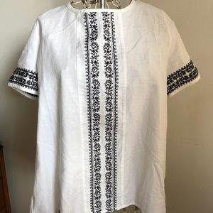 NWT Sezane Paris embroidered cotton blouse, sz. 42